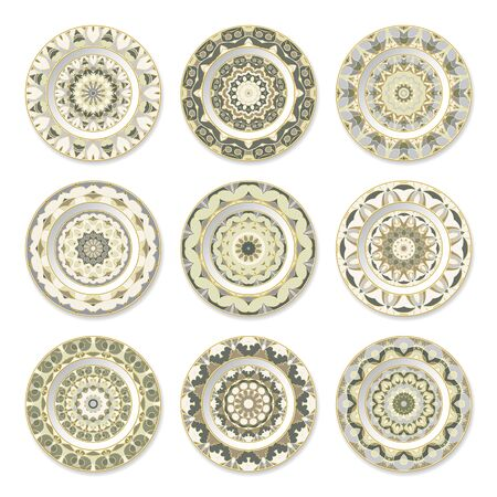 Set of nine green decorative plates with a circular pattern, top view. White background. Vector illustration.