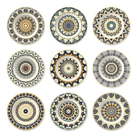 Set of nine decorative plates with a circular blue and beige pattern, top view. White background. Vector illustration.