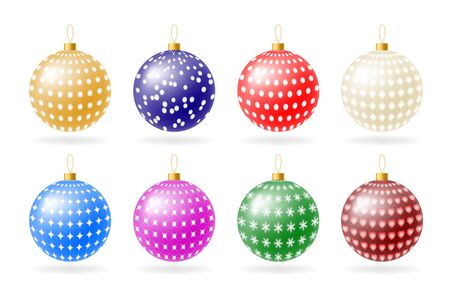 Colorful Christmas balls with ornate ornament on a white background.
