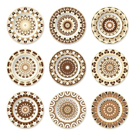 Set of nine decorative plates with a circular brown pattern, top view. White background. Vector illustration. Ilustrace