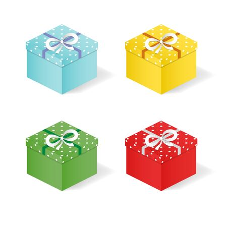 Festive gift boxes with bows on a white background. Simple style. 矢量图像