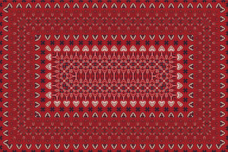 Vintage Arabic pattern. Persian colored carpet. Rich ornament for fabric design, handmade, interior decoration, textiles. Red background. 矢量图像