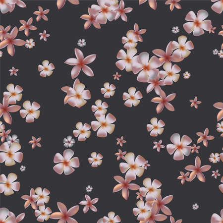 Gentle seamless pattern with pink tropical flowers