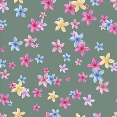 Multicolored plumeria flowers on a green background. Seamless pattern. Vector illustration.
