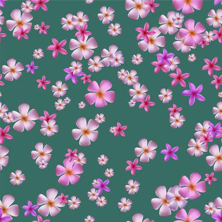 Seamless pattern with pink plumeria on green backgound. 矢量图像
