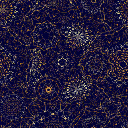 Seamless pattern with golden mandala on dark blue background. Arabic golden ornament for printing on fabric or paper.