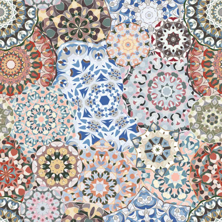 Seamless pattern with floral mandala. Arabic multicolor ornament for printing on fabric ore paper.