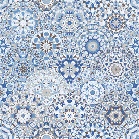 Seamless bright pattern with colorful mandalas in oriental style.