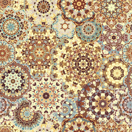 Seamless bright pattern with colorful mandalas in oriental style. Vektorové ilustrace