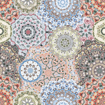 Seamless pattern with floral mandala.