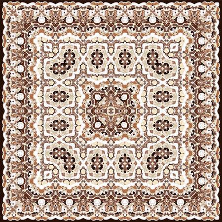 Ancient Arabic square pattern. Colored Persian ornament for fabric design, interior decoration, textile scarf, carpet.