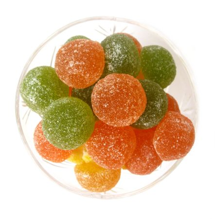a glass with fruit jellies                            Stock Photo