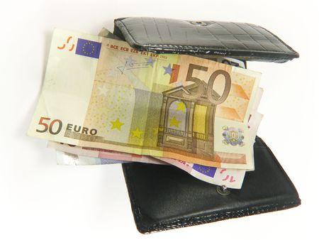 outgoings: Money purse black open Stock Photo