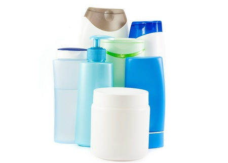 Bottles of shampoo, conditioner and hair protection products