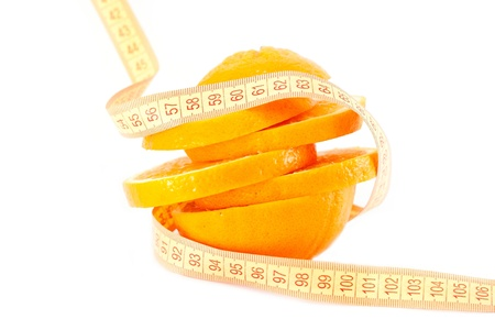 Cut orange wrapped centimeter isolated on a white background