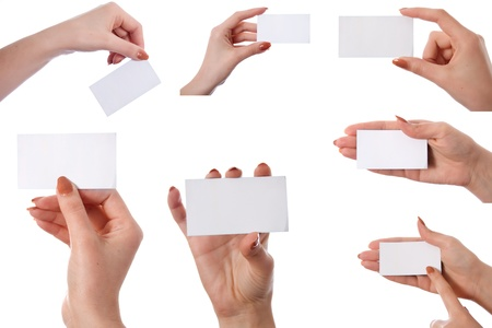 Set of hand holding an empty business card isolated on white background