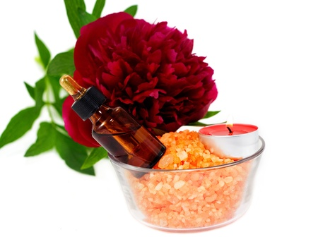 Aromatherapy set with flower peony and flasks