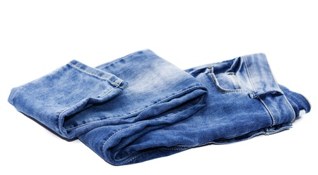 Blue female jeans isolated on white with