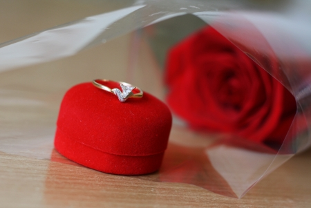 diamond ring on the red box and red roses in the background photo