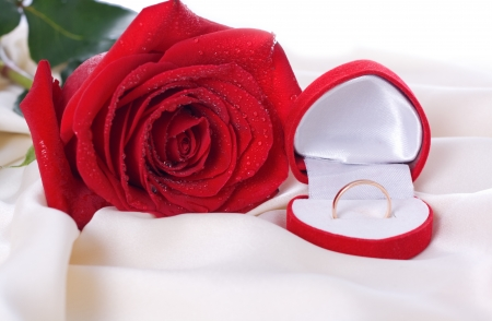 Red Rose and a wedding ring in a box on a gentle silk photo