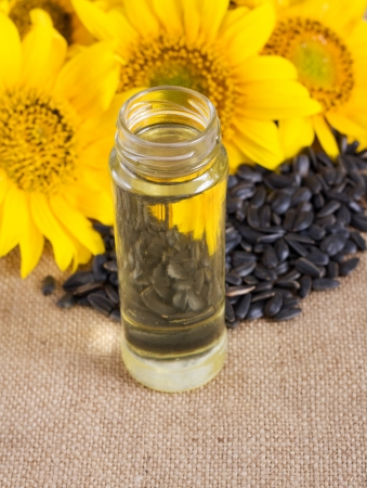 sunflower seeds and vegetable oil in a bottle  Stock Photo