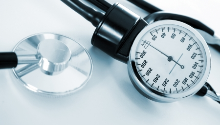 medicine object. blood pressure with stethoscope
