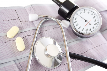 stethoscope and pills on cardiograms