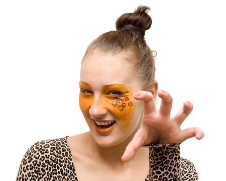 Portrait of girll in cat make-up and bodyart Stock Photo - 17134536