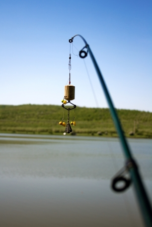 Fishing rod with plankton and corn for bait fish in the sky Stock Photo - 17150213