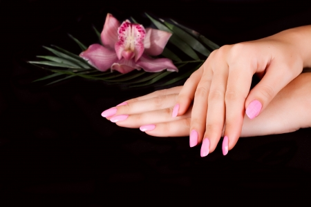 Nails with flower on black Stock Photo