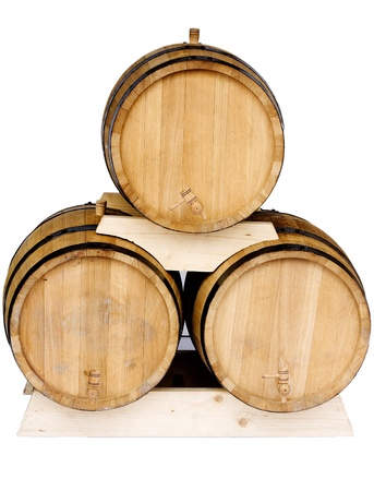casks: Three new barrels for wine isolated on white background