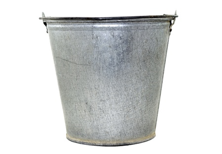 Old bucket isolated on a white background Stock Photo