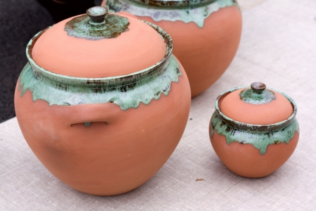 indian artifacts: Still Life Pottery. Pitcher and plates made of clay..