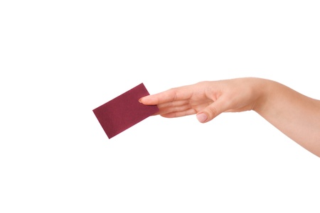 woman's hand holding a business card isolated Stock Photo - 17150328