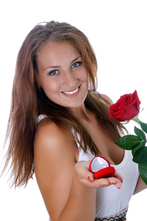 girl was presented with a red rose and a box with a ring Stock Photo - 17276062