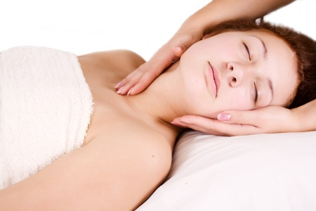 Female receiving massage therapy on neck Stock Photo - 17275918