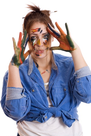 Happy woman with paint smeared hands isolated Stock Photo - 17289168