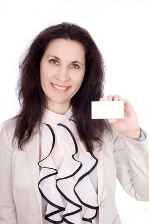 Self-confident business woman with business card Stock Photo - 17333698