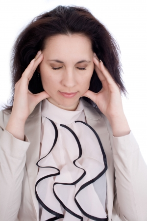 attractive charismatic: woman thinks her eyes closed, wanting to focus