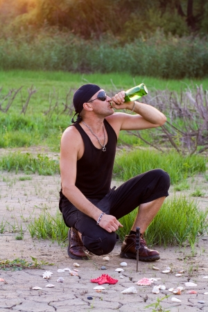 Pirate with a bottle of rum Stock Photo - 17369613