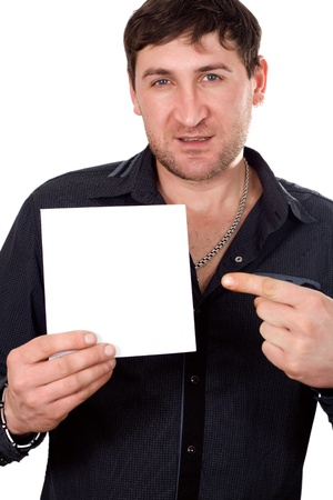 Businessman showing is blank card with copyspace Stock Photo - 17414884