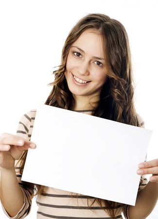 Teenager holding a piece of paper Stock Photo