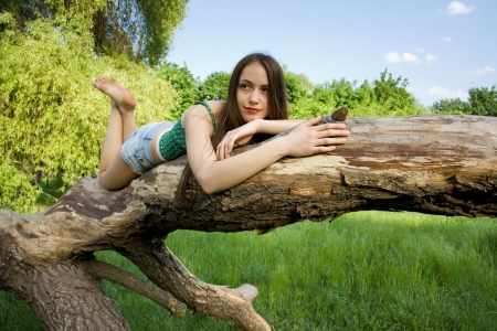 Beautiful girl lying on a tree in denim shorts and a t-shirt loo Stock Photo - 17405631