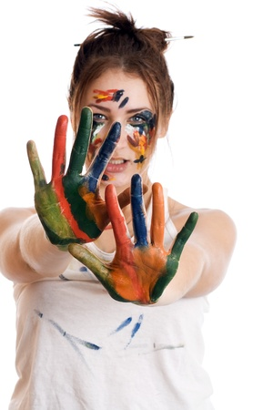 Female artist with his hands in the paint Stock Photo - 17418927