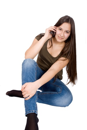 Teen girl talking on cell phone Stock Photo - 17449403