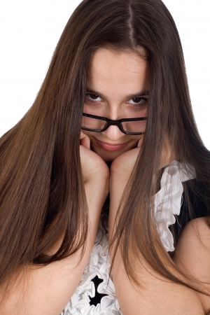 Portrait of a teenage girl hurt in glasses isolated on a white background Stock Photo - 17449344