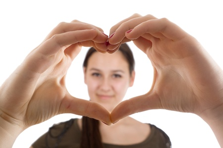 Heart of the hands and does a portrait photo
