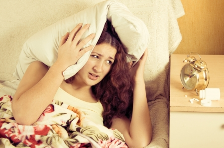 Beautiful woman in bed, have insomnia problem Stock Photo