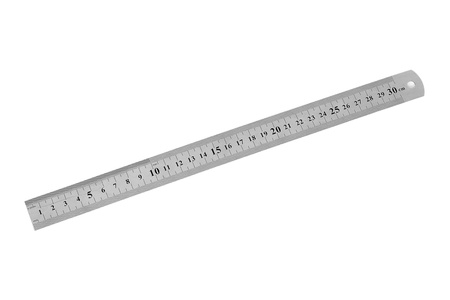 Metal ruler 30 cm isolated on white background Фото со стока