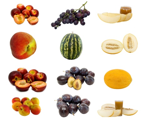 Collage made of fresh fruits images isolated photo